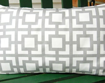Gray Decorative Throw Pillow Lumbar Cover All Sizes Gray Geometric Nursery Cushion Cover Home Decor Accents Pillow Case