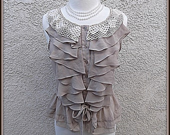 Womens Upcycled Romantic Lace Collar Shirt Shabby Chic Ladies Top Repurposed