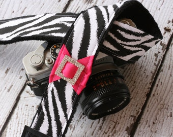 Zebra Camera Strap. dSLR Camera Strap. Camera Strap. Cute Camera Strap.  Camera Neck Strap.  Gift For Her. Padded Camera Strap.