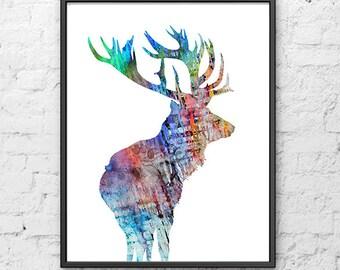 Watercolor deer art print, woodland animal art, watercolor deer, watercolor painting, animal print - H167