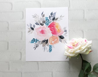 PRINTABLE Pink and Black Floral // Pink Peony Print// Flower Painting// Pink and Black Watercolor Floral Print