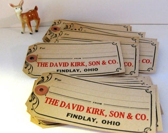 Vintage Department Store Shipping Tags (4), Findlay, Ohio, Christmas Tags