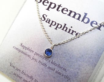 September Swarovski Sapphire Birthstone Necklace, Sterling Silver Birthstone Necklace, Birthstone Necklace, Birthday Gift