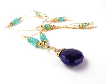 Purple Chalcedoney Apatite Necklace ~ AdoniaJewelry