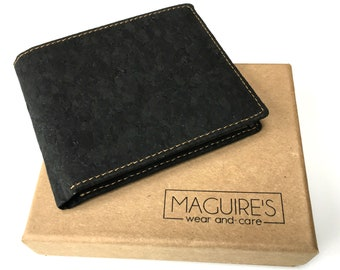 Cork Bifold Wallet for Men-RFID Slim, light, minimalist non leather-Vegan Society & Peta Approved! Takes 6 cards -compostable-Unique gift.