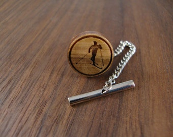 Men's Wooden Tie Tack - Cross Country Skier Engraved in Maple Wood, 14mm, Mens Tie Tacks, Mens Accessories, Round Tie Tack, Gift for Him