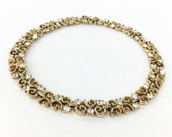 50s Trifari Gold Rhinestone Choker Necklace
