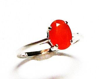 "Carnelian ring, solitaire ring, orange ring, s 6 1/4    ""She's got spunk"""
