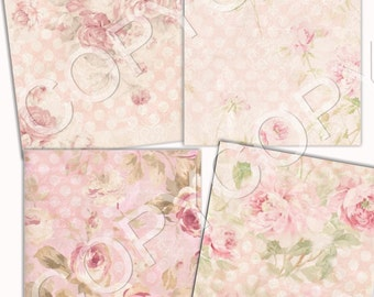 INSTANT DOWNLOAD - Sweet Shabby Chic - 3.5 X 5  inches -  Printable Digital Collage Sheet - Digital Download