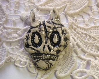 Skeleton Pin with Horns