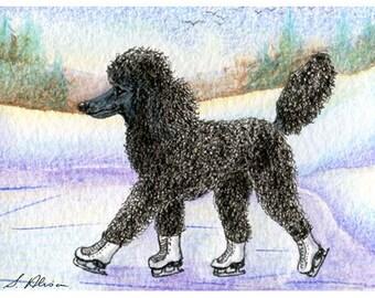 Black Poodle ice skating 8x10 art print