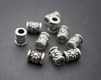 10 pcs - silver plated tubes, flowers beads - 6mm x 4mm