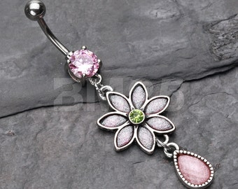 Pink Frosted Flower Belly Button Ring