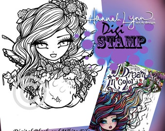 PRINTABLE Digi Stamp Flower Fairy Moon Coloring Page I Dream in Color Fun Fantasy Art Hannah Lynn
