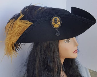 Black and gold pirate, Steampunk, Victorian, gothic, baroque tricorn hat