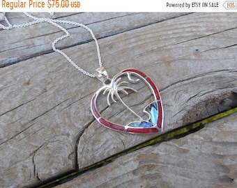 ON SALE Tropical Palm tree in  a heart necklace handmade in sterling silver 925 with abalone and red sponge coral