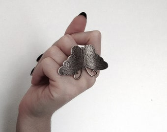 Valentine Gift Butterfly Ring Large Ring Statement Silver Cocktail Ring Novelty Butterflies Insects Gothic Alternative Jewelry