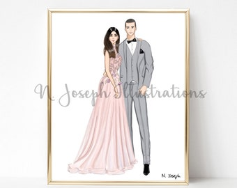 Custom fashion/wedding/portrait illustrations