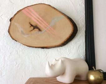 Artifacts of Joy - Wind Mountain Cloud Arrow Artifact - Painting on Wood - Wood slice - Abstract art