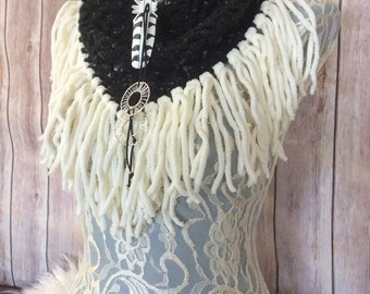 Charcoal Hedwig cowl... knit crocheted fringed yarn soft scarf leather tie bohemian boho