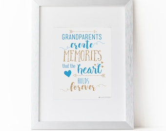 Grandparents Gift | Grandparent Gift | Grandma Gift | Grandkids Sign | Grandparents Create Memories Printable Art | Grandchildren | Heart