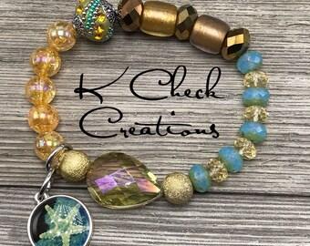 Starfish charmed bracelet, Starfish jewelry, Stretch bracelet, Mixed bead bracelet, Nautical bracelet, Tropical bracelet, Gift for her