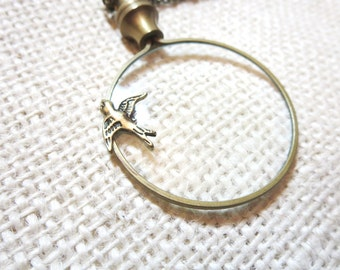 """Magnifier Necklace, Monocle Necklace, Bird  Necklace -2"""" magnifying glass  pendant , Fun and Handy. Trendy and Chic Jewelry"""