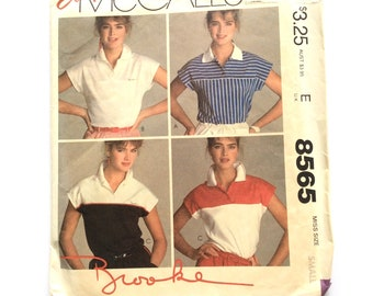 McCall's 8565 Women's Top Pattern with Black Iron-On Transfer, Brooke Shields Signature Collection, Size 10-12, Vintage Uncut Pattern