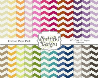 Chevron Digital Paper Scrapbook Paper