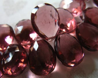 2-20 pcs / PURPLE QUARTZ Pear Briolette / 11.5-13+ mm WINE / Faceted,  giant hydqtz32  bsc solo