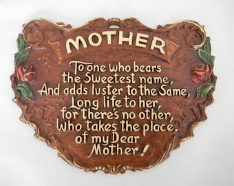 """Vintage """"Mother"""" Wall hanging"""