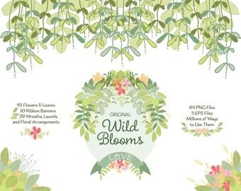 Flower and Leaf ClipArt | Greenery Vector |  Botanical Clip Art | Wedding Wreath | Leaf Wreath | Pastel Flowers | Pink Flowers