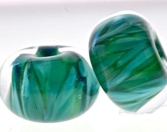 Paulbead boro lampwork glass bead pair for earrings aqua mist