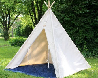 Teepee Tent, READY TO SHIP, 2 Sizes Available, Natural Canvas Teepee, Playhouse, Kids Teepee Tent, Kids Tent, Teepees, Kids Teepee
