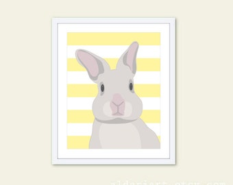 Bunny Art Print - Rabbit Wall Art - Nursery Rabbit Art - Grey and Yellow Decor - Easter Rabbit Decor- Modern Decor - Pastel Colors