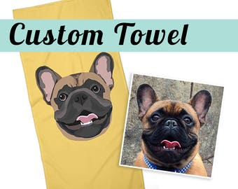 CUSTOM PET TOWEL | Send your photo | Custom Portrait | Choose Background Color | Dog Lover Gift | Beach Towel | Gift | Two sizes available