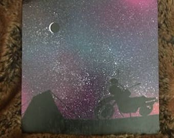 Joshua Tree Motorcycle Campout Galaxy Painting on Wood