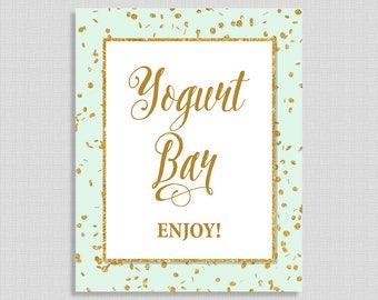Yogurt Bar Sign, Mint & Gold Glitter Shower Sign,  INSTANT PRINTABLE