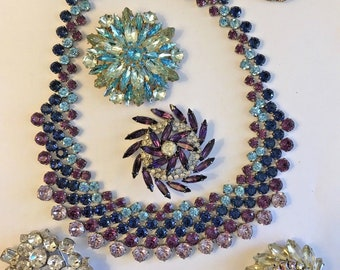 Lot 6 Vintage RHINESTONE Necklace Brooch Pins Pin Estate