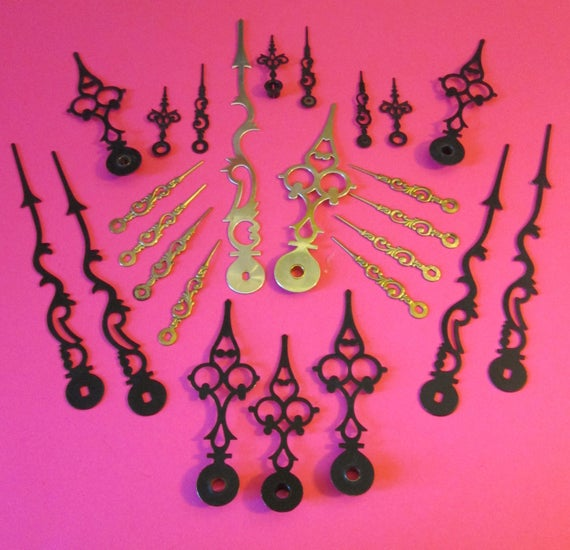 25 Assorted Vintage Mixed Metals Serprentine/Gothic Style Clock Hands for your Clock Projects - Jewelry Making - Steampunk Art