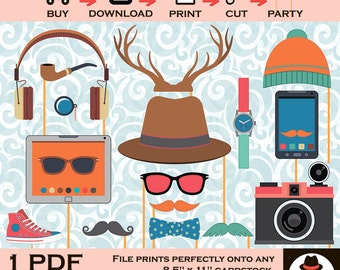 Hipster Photo Booth Prop, Birthday Party Printable, Birthday Party Photo Booth, Internet Prop, Hipster Props,Printable Photo Props,DIY prop