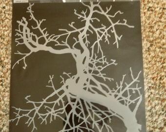 FORKED BARE BRANCH laser cut stencil  9 x 12