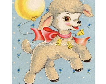 Animals 9 a Sweet Lamb with a Balloon a Digital Image from Vintage Greeting Cards - Instant Download
