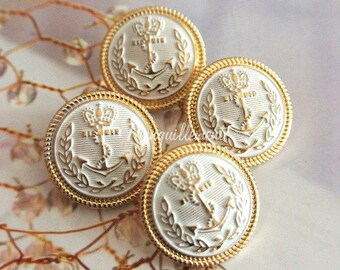 4 Medium Vintage Style Gold Golden White Nautical Anchor Military Jacket Coat Sweater Metal Button 0.8 Inches / 2.2 cm