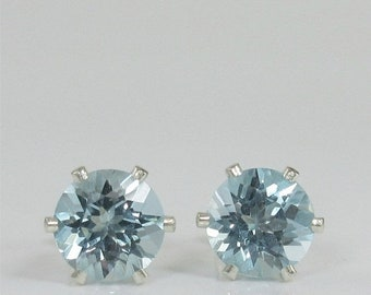 Memorial Day Sale Sky Blue Topaz 7mm 2.95ctw Sterling Silver Stud Earrings