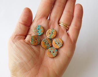 """9/16"""" polymer clay buttons, 14 mm sewing buttons, set of 6"""