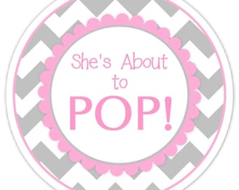 Baby Shower About to Pop labels, Gray Chevron and Pink, About to Pop Stickers, Baby Shower Labels