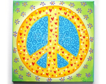PEACE sign art for girls room,12x12 acrylic canvas, painting for kids, tween decor