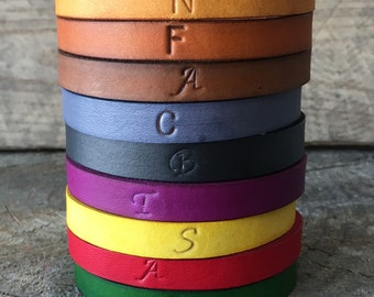 Leather Bracelet Personalized, Leather Bangle Bracelet Personalized, Leather Bangle, Leather Bracelet, You Choose Color