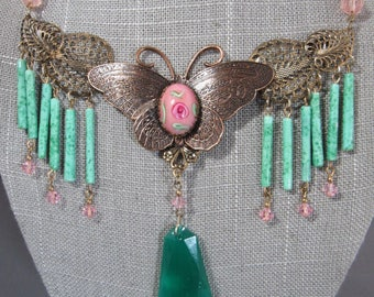 Sadie Green vintage Victorian revival antique brass pampilles Butterfly signed necklace with painted porcelain focal & beads